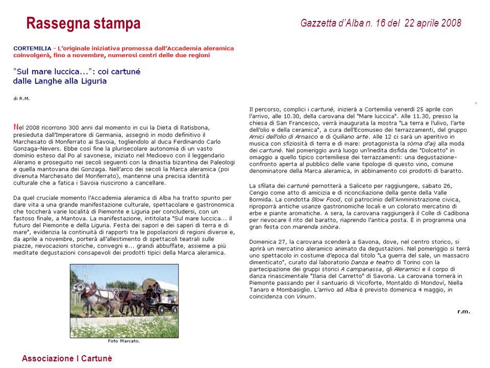 Rassegna stampa Gazzetta d'Alba n. 16 del 22 aprile 2008