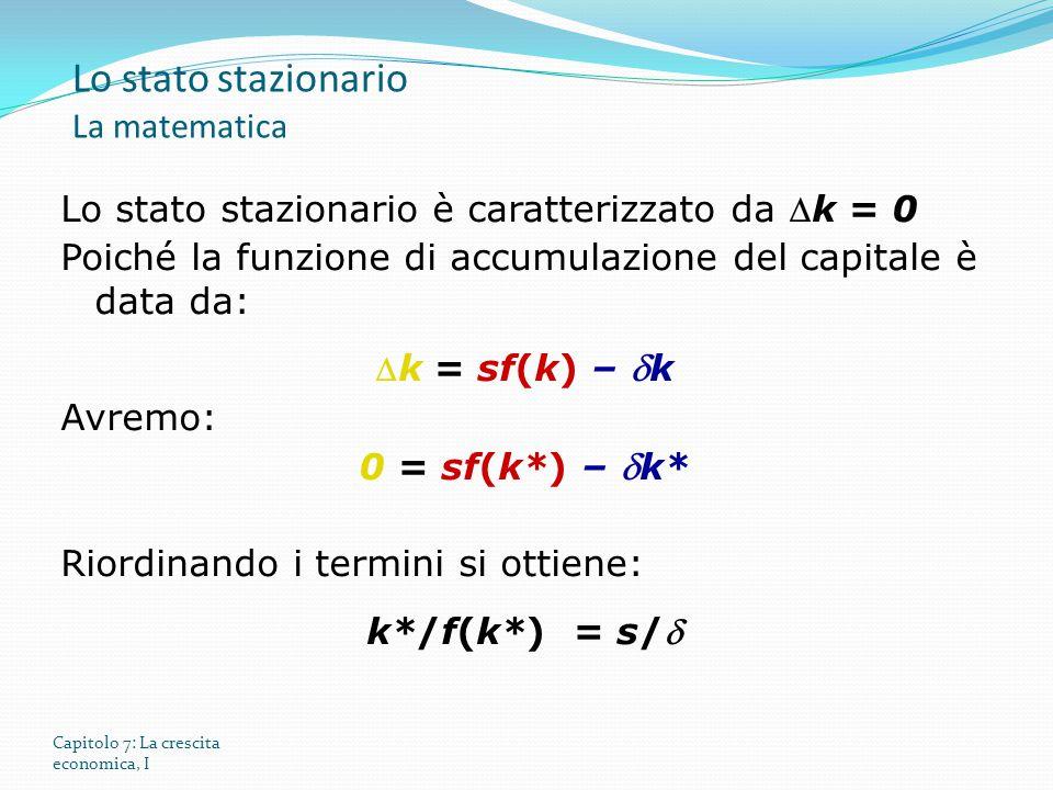 Lo stato stazionario La matematica
