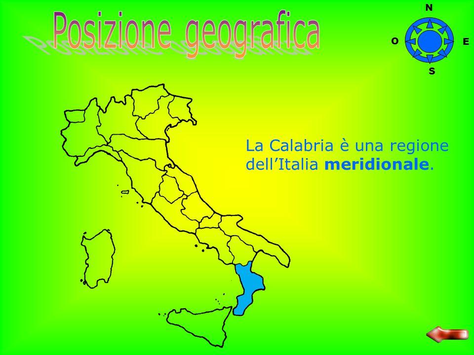 N Posizione geografica O E S La Calabria è una regione dell'Italia meridionale.