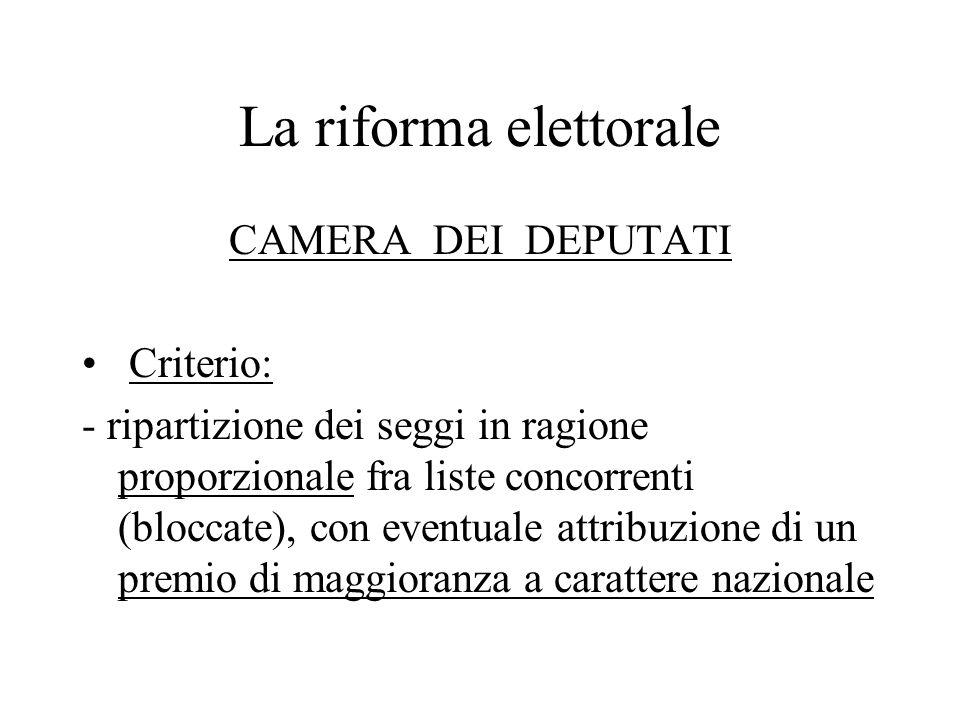 La riforma elettorale CAMERA DEI DEPUTATI Criterio: