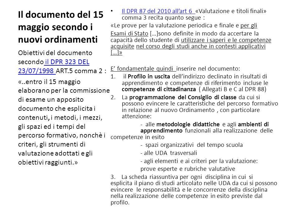 Il documento del 15 maggio secondo i nuovi ordinamenti