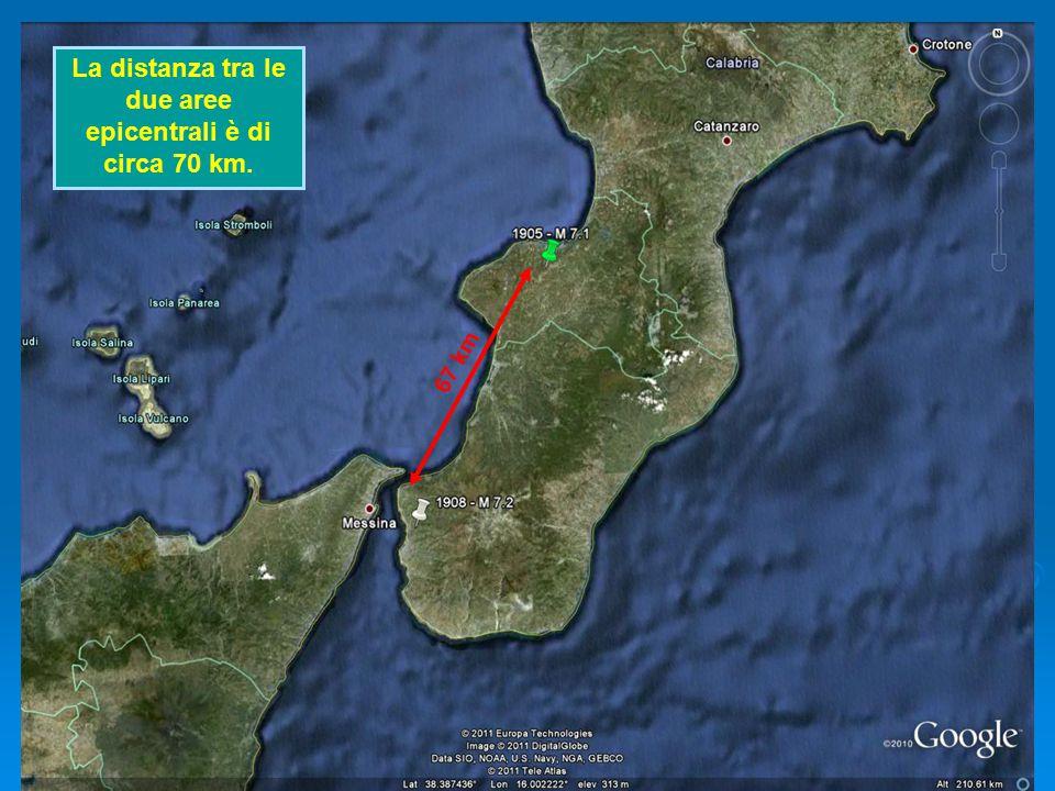 La distanza tra le due aree epicentrali è di circa 70 km.