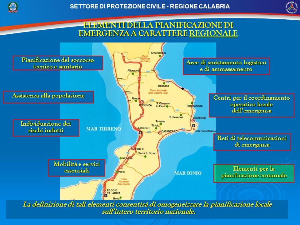 ELEMENTI DELLA PIANIFICAZIONE DI EMERGENZA A CARATTERE REGIONALE
