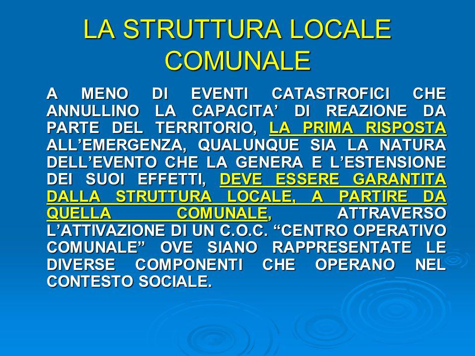 LA STRUTTURA LOCALE COMUNALE