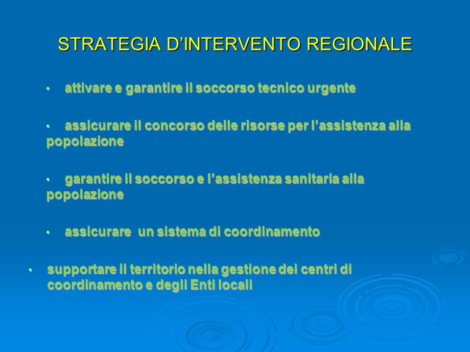 STRATEGIA D'INTERVENTO REGIONALE