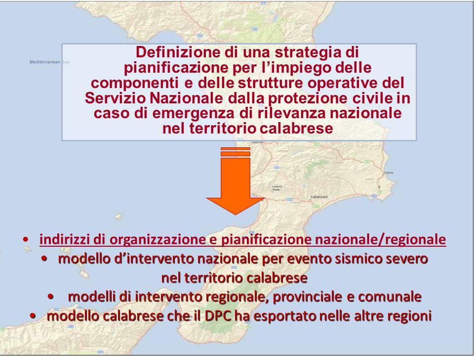 indirizzi di organizzazione e pianificazione nazionale/regionale