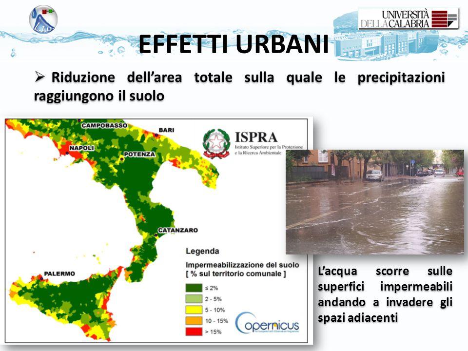 EFFETTI URBANI Riduzione dell'area totale sulla quale le precipitazioni raggiungono il suolo.