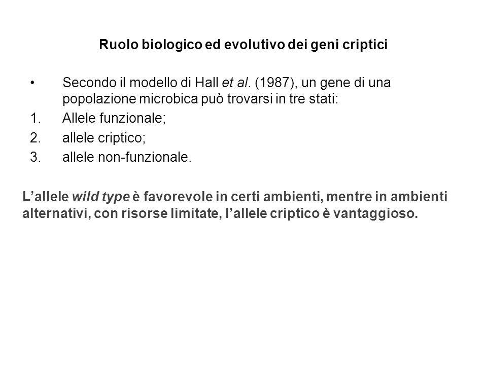 Ruolo biologico ed evolutivo dei geni criptici
