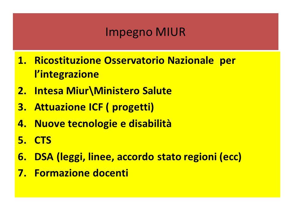 Impegno MIUR Ricostituzione Osservatorio Nazionale per l'integrazione