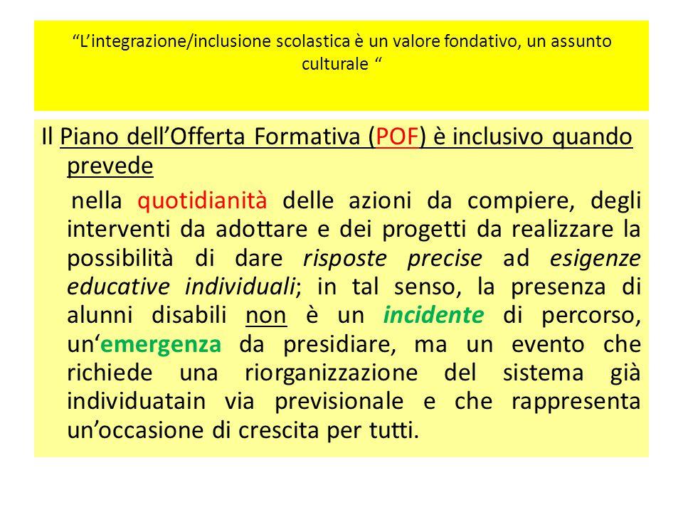 Il Piano dell'Offerta Formativa (POF) è inclusivo quando prevede