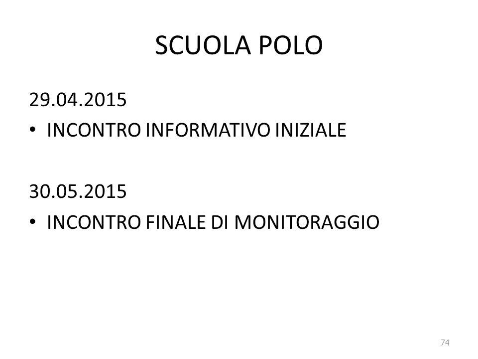 SCUOLA POLO 29.04.2015 INCONTRO INFORMATIVO INIZIALE 30.05.2015