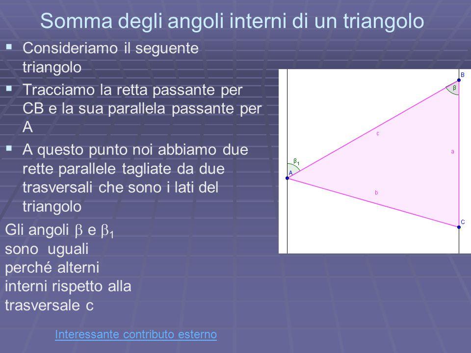 Somma degli angoli interni di un triangolo