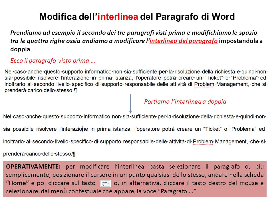 Modifica dell'interlinea del Paragrafo di Word