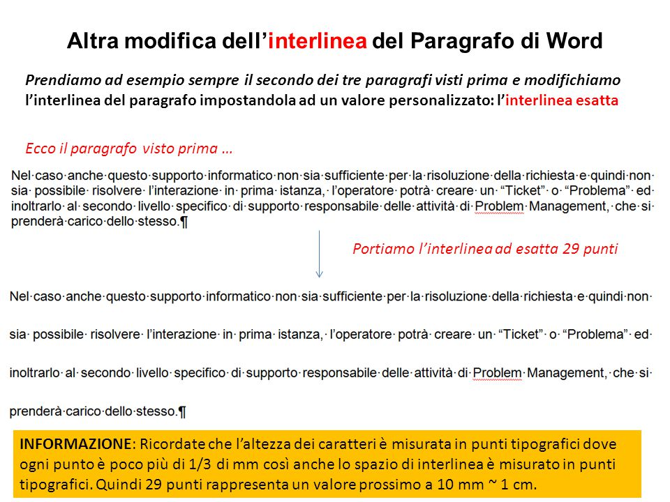 Altra modifica dell'interlinea del Paragrafo di Word