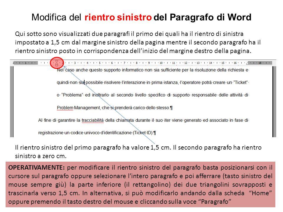 Modifica del rientro sinistro del Paragrafo di Word