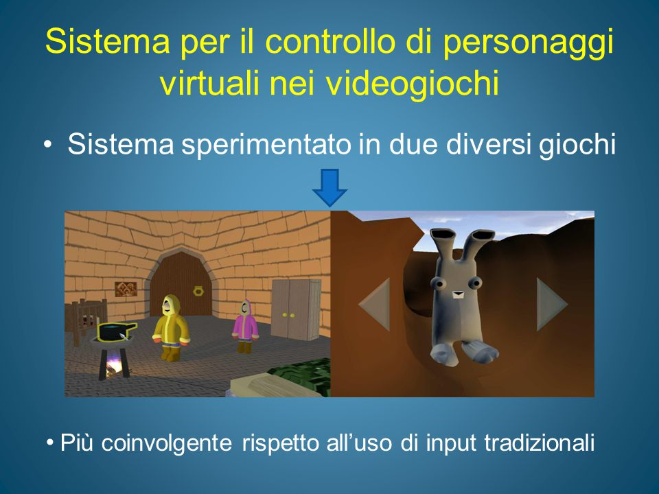 Sistema per il controllo di personaggi virtuali nei videogiochi