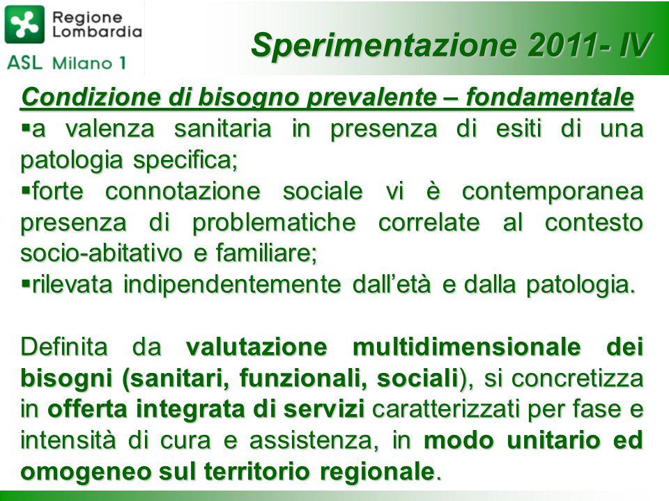 Sperimentazione 2011- IV Condizione di bisogno prevalente – fondamentale. a valenza sanitaria in presenza di esiti di una patologia specifica;