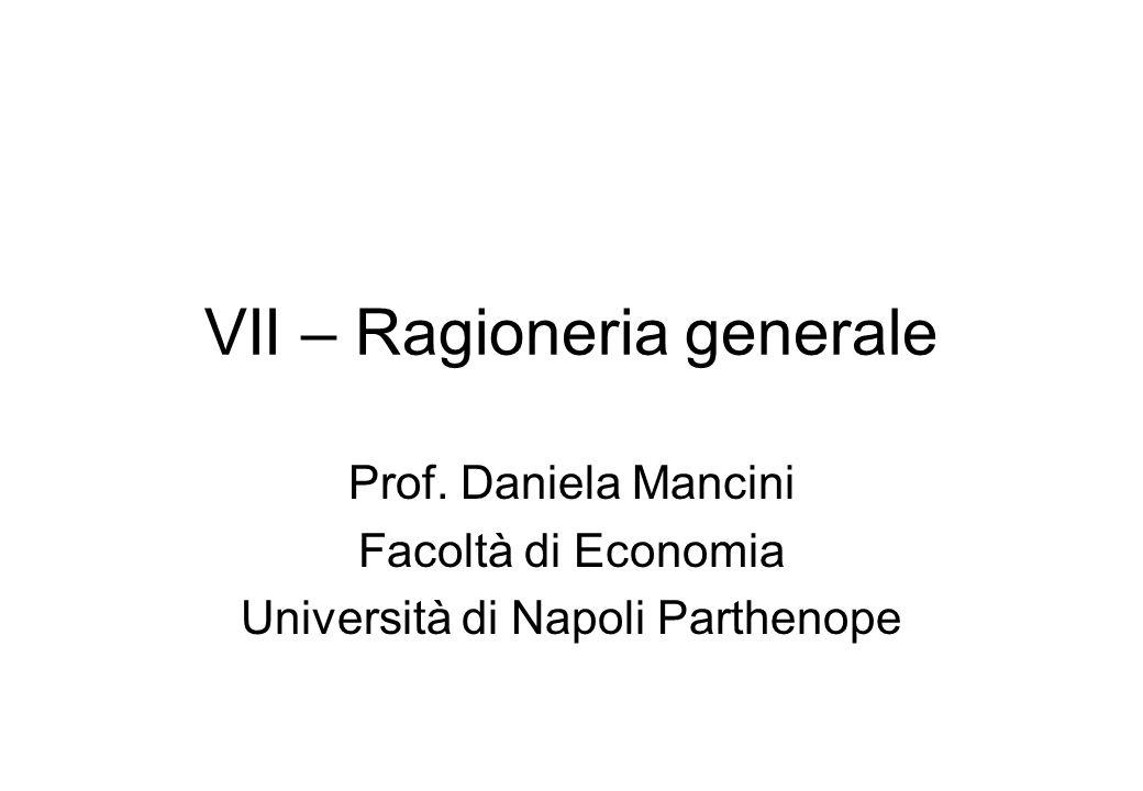 VII – Ragioneria generale