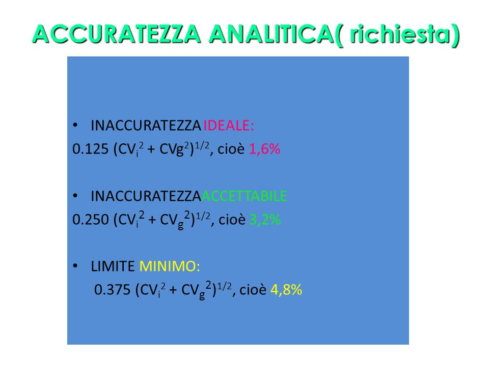 ACCURATEZZA ANALITICA( richiesta)