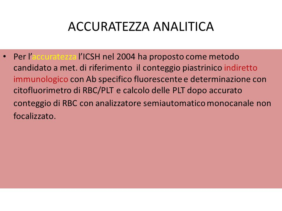ACCURATEZZA ANALITICA