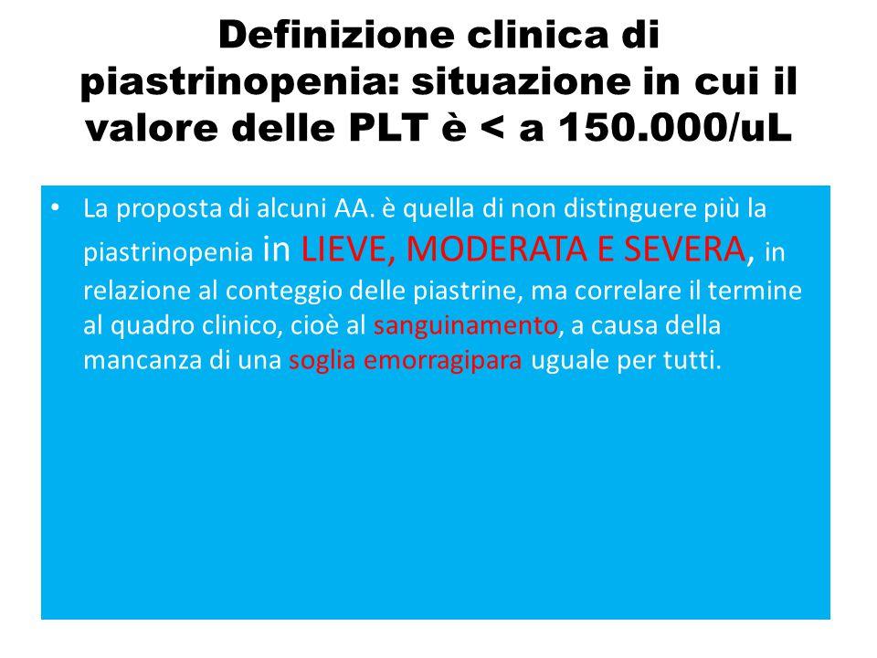 Definizione clinica di piastrinopenia: situazione in cui il valore delle PLT è < a 150.000/uL