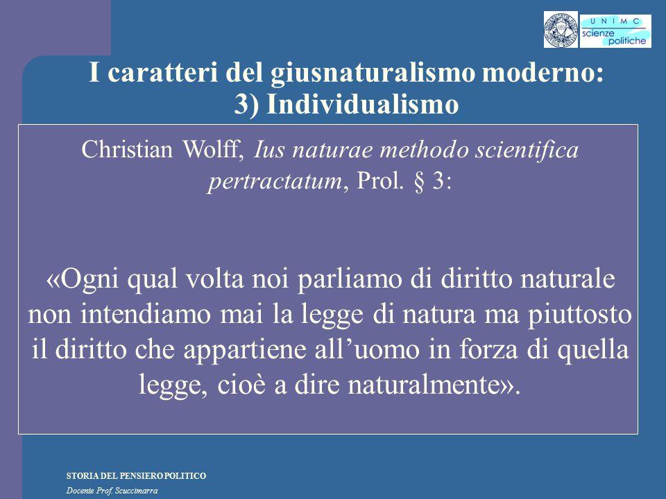 I caratteri del giusnaturalismo moderno: 3) Individualismo