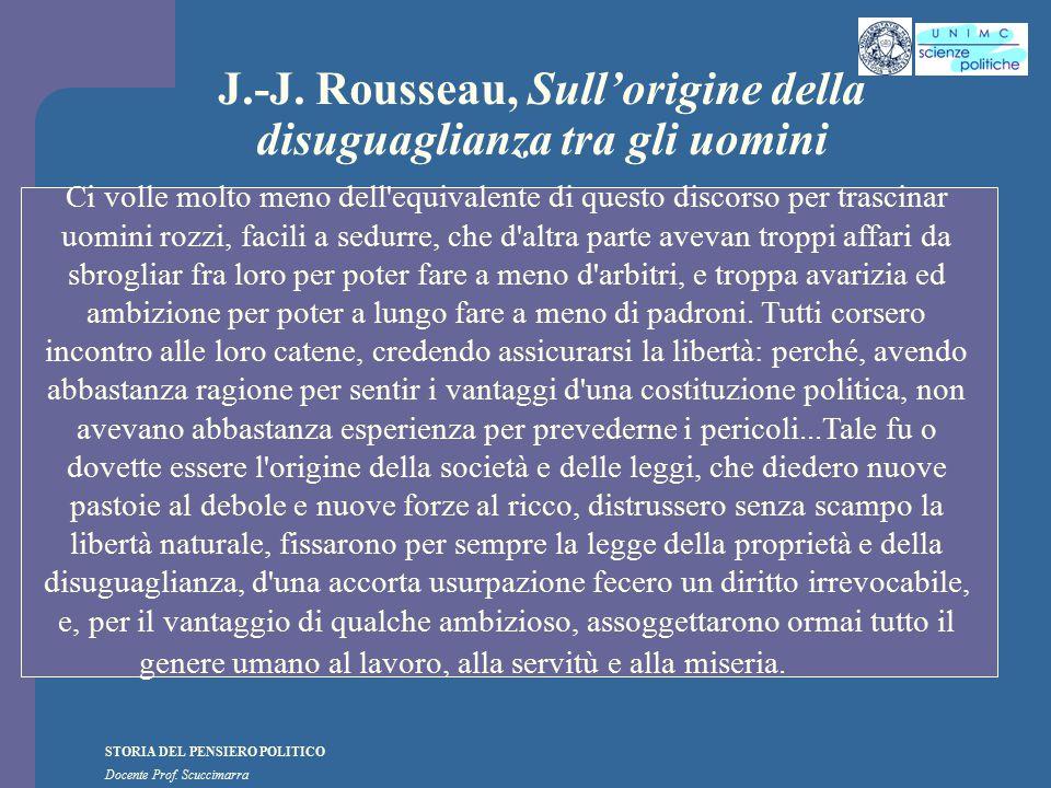 J.-J. Rousseau, Sull'origine della disuguaglianza tra gli uomini