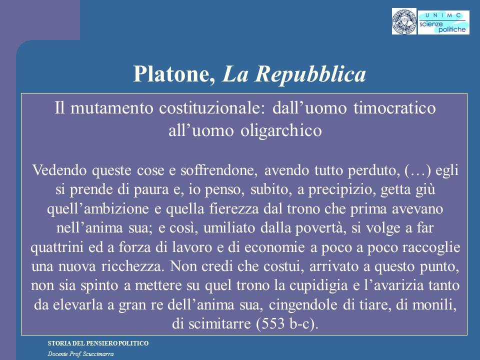 Platone, La Repubblica Il mutamento costituzionale: dall'uomo timocratico all'uomo oligarchico.