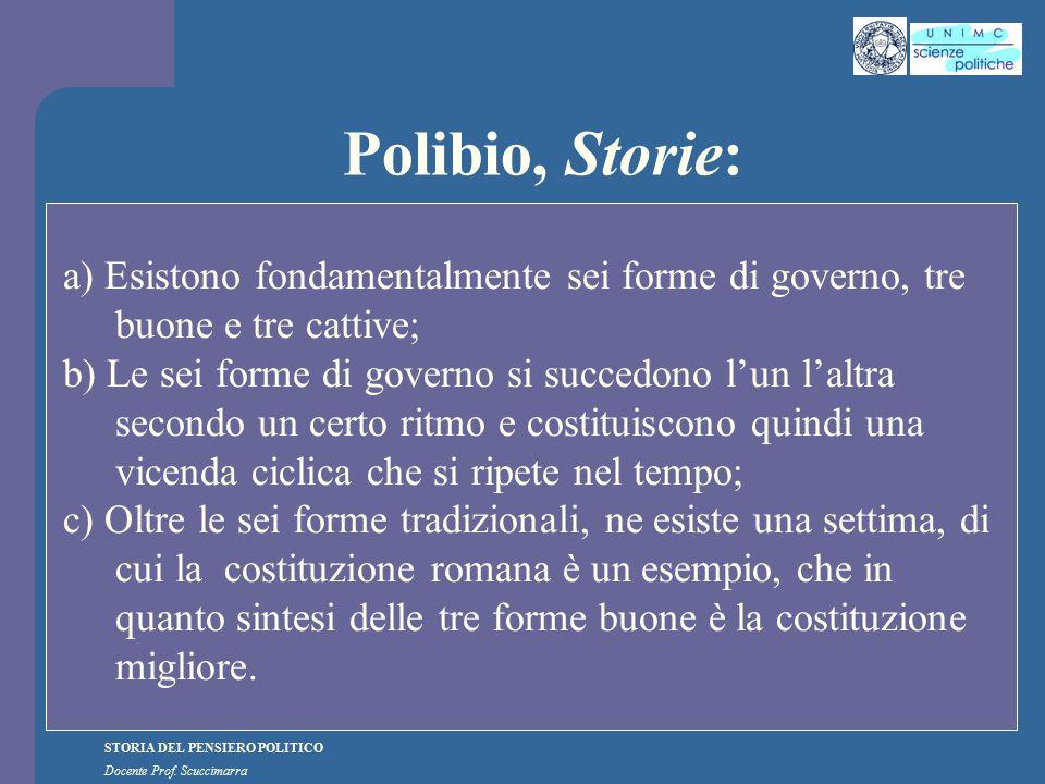 Polibio, Storie: a) Esistono fondamentalmente sei forme di governo, tre buone e tre cattive;