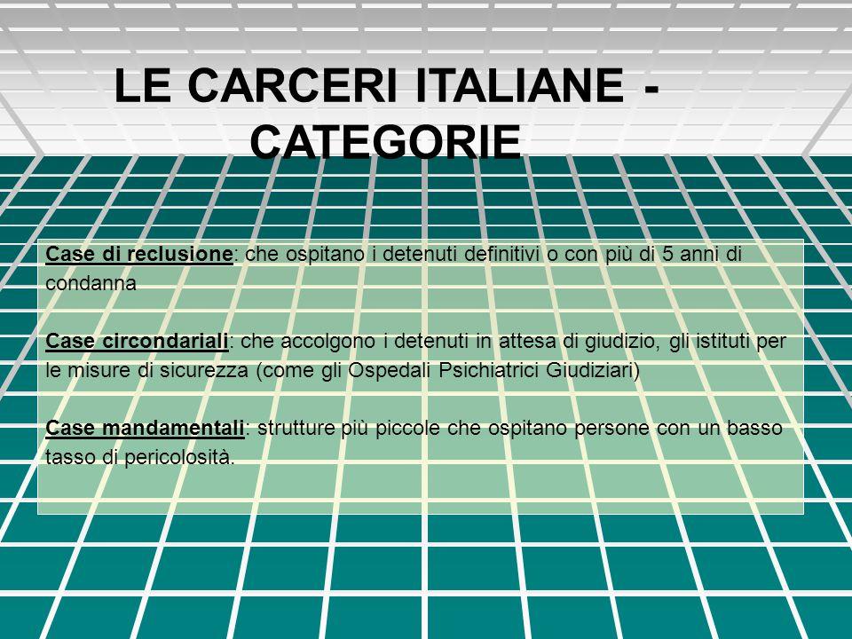 LE CARCERI ITALIANE - CATEGORIE