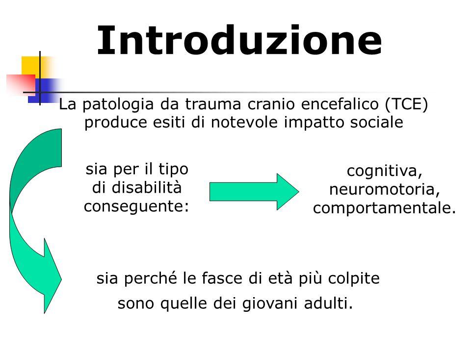 Introduzione La patologia da trauma cranio encefalico (TCE) produce esiti di notevole impatto sociale.