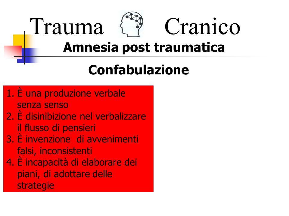 Trauma Cranico Amnesia post traumatica Confabulazione