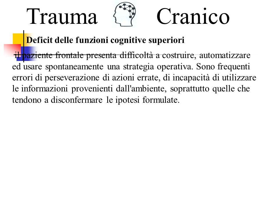Trauma Cranico Deficit delle funzioni cognitive superiori