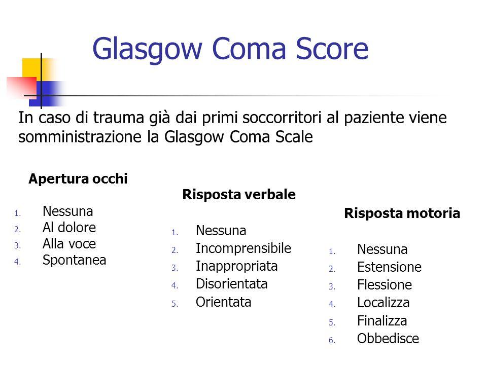 Glasgow Coma Score In caso di trauma già dai primi soccorritori al paziente viene somministrazione la Glasgow Coma Scale.