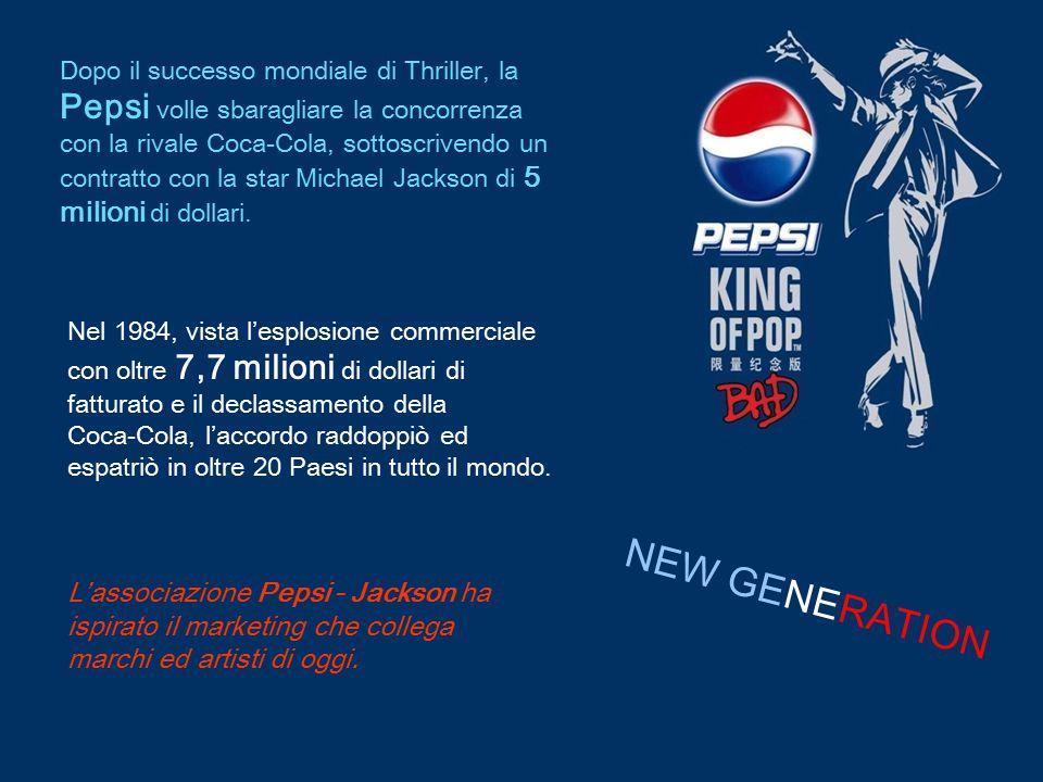 Dopo il successo mondiale di Thriller, la Pepsi volle sbaragliare la concorrenza con la rivale Coca-Cola, sottoscrivendo un contratto con la star Michael Jackson di 5 milioni di dollari.