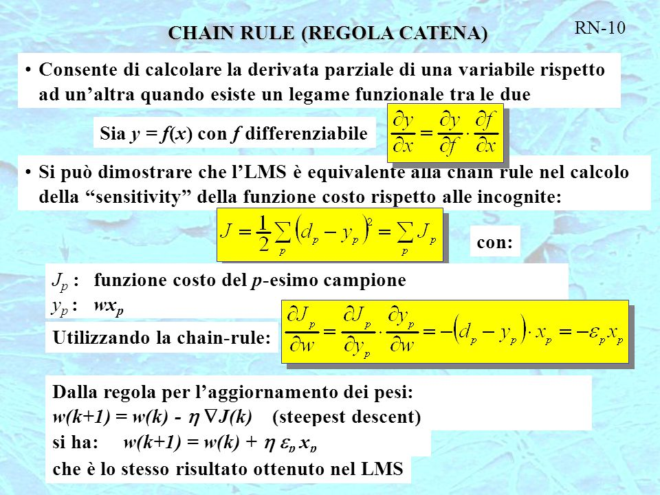 CHAIN RULE (REGOLA CATENA)