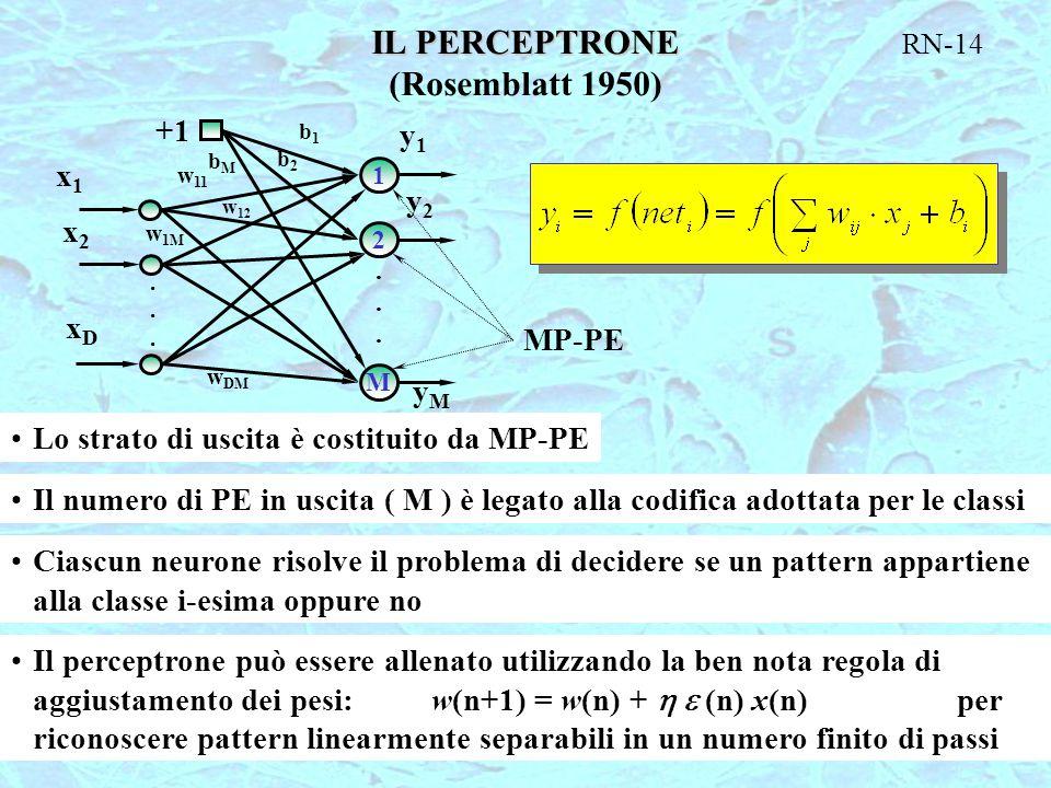 IL PERCEPTRONE (Rosemblatt 1950)