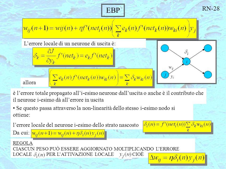 EBP RN-28 L'errore locale di un neurone di uscita è: allora