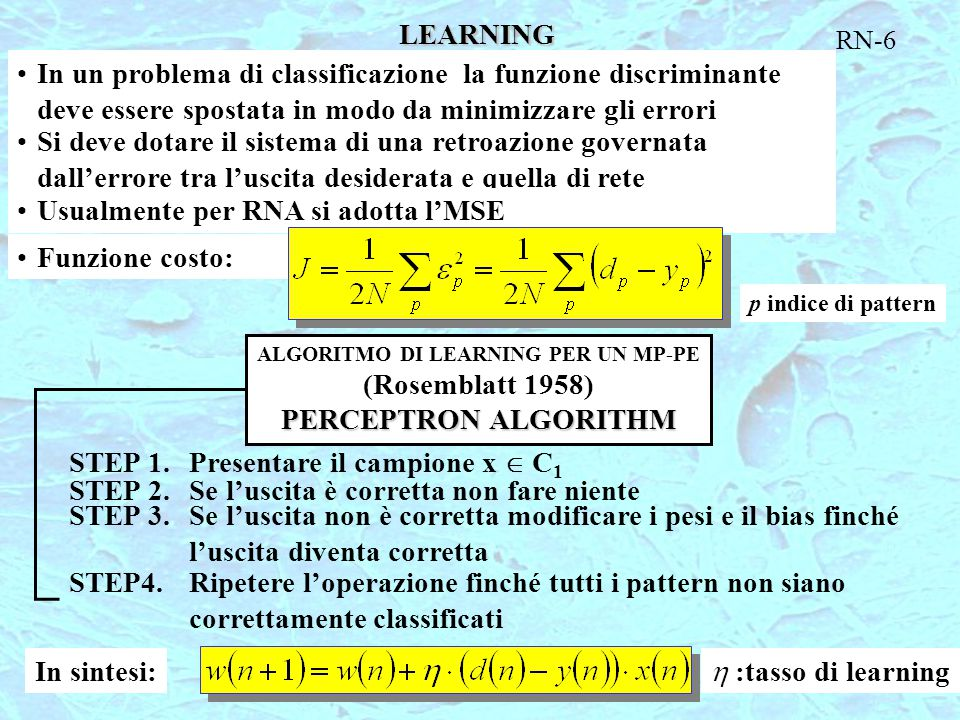 ALGORITMO DI LEARNING PER UN MP-PE