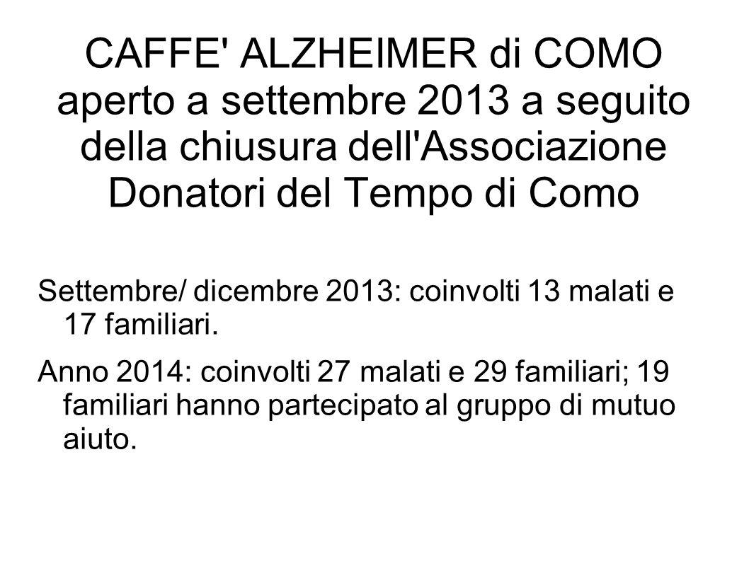 CAFFE ALZHEIMER di COMO aperto a settembre 2013 a seguito della chiusura dell Associazione Donatori del Tempo di Como