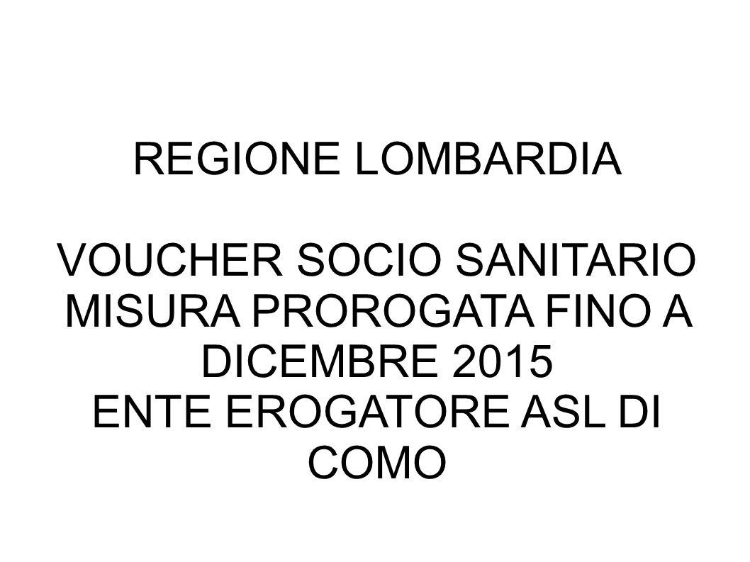 VOUCHER SOCIO SANITARIO MISURA PROROGATA FINO A DICEMBRE 2015