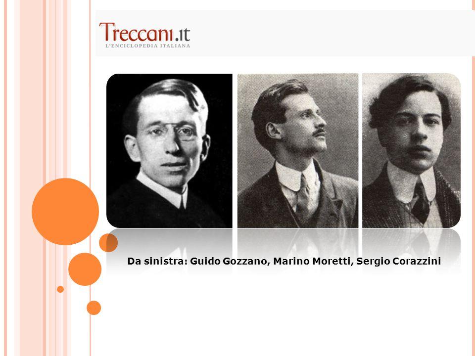 Da sinistra: Guido Gozzano, Marino Moretti, Sergio Corazzini