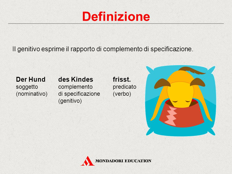 Definizione Il genitivo esprime il rapporto di complemento di specificazione. Der Hund. soggetto (nominativo)