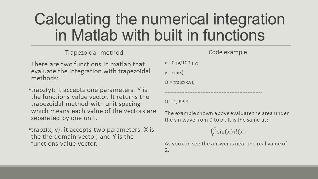 Calculating the numerical integration in Matlab with built in functions