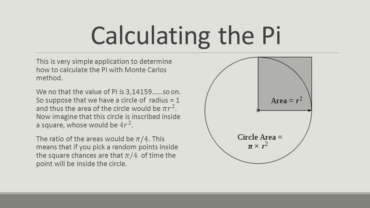 Calculating the Pi This is very simple application to determine how to calculate the Pi with Monte Carlos method.