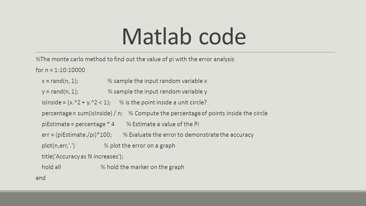 Matlab code %The monte carlo method to find out the value of pi with the error analysis. for n = 1:10:10000.