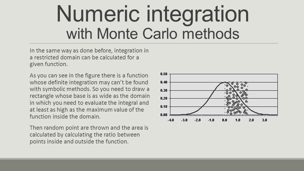 Numeric integration with Monte Carlo methods