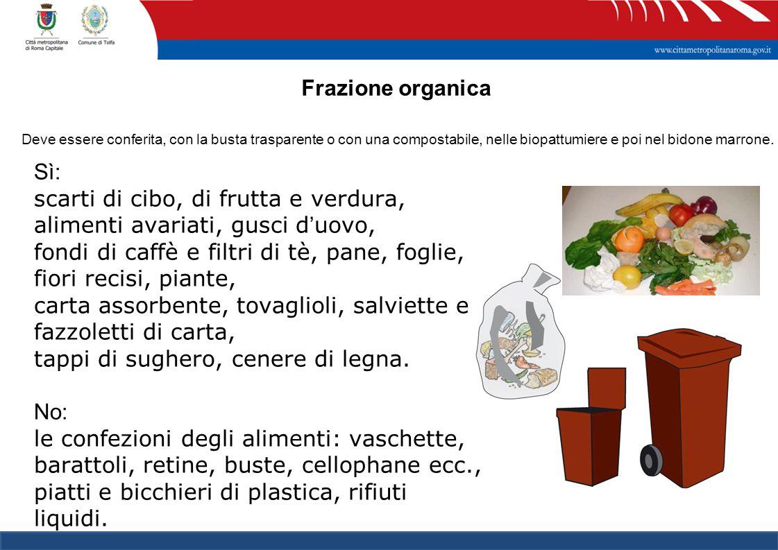 Frazione organica Deve essere conferita, con la busta trasparente o con una compostabile, nelle biopattumiere e poi nel bidone marrone.