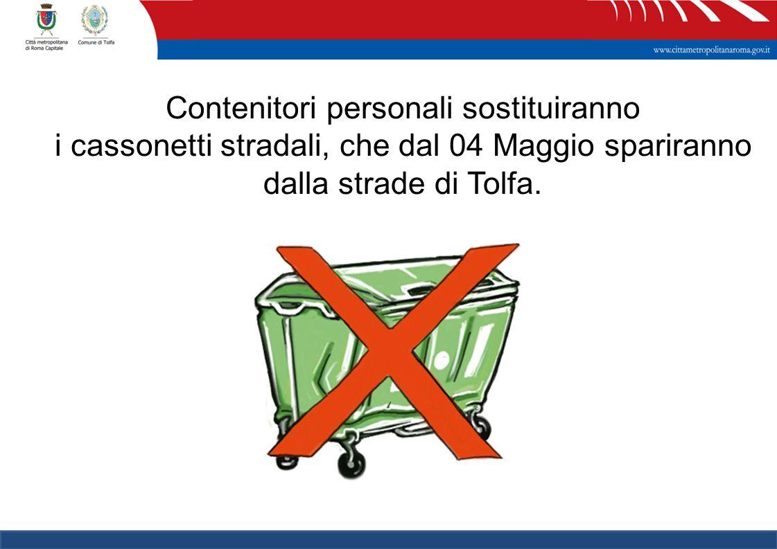 Contenitori personali sostituiranno i cassonetti stradali, che dal 04 Maggio spariranno dalla strade di Tolfa.