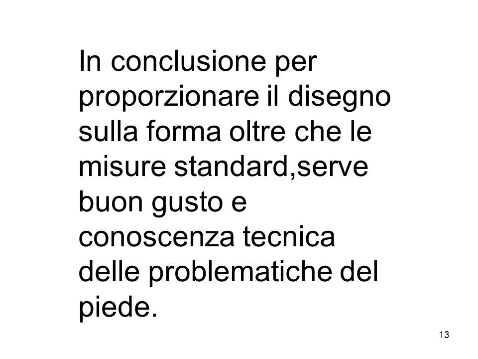 In conclusione per proporzionare il disegno sulla forma oltre che le misure standard,serve buon gusto e conoscenza tecnica delle problematiche del piede.
